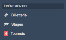 Menu billetterie - stages - tournois Kalisport