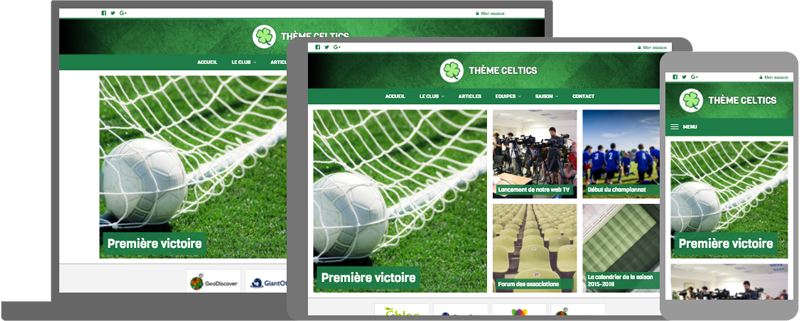 Thème Celtics - responsive design - compatible mobile/tablette