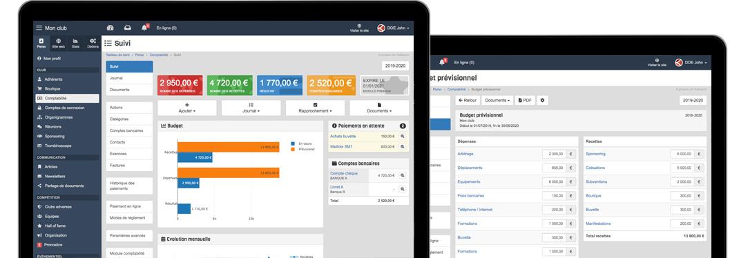 Logiciel gestion comptable en ligne pour club de sport