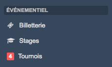 Menu billetterie - stages - tournois Kalisport