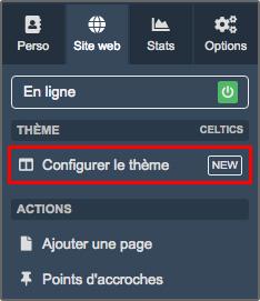 Configurateur thème graphique - accès menu site web