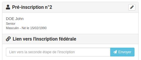 Adhérent pré-inscription - Ajout lien inscription issu de la fédération